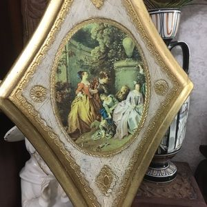 VTG Wooden Italian Wall Plaque with Art Print